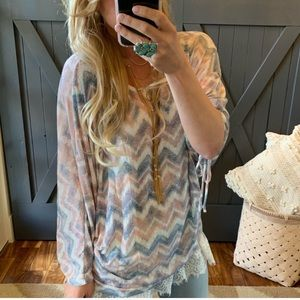🌺New Bohemian Chevron Tie Sleeve knit Top